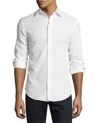 Armani Collezioni Textured Seersucker Sport Shirt White