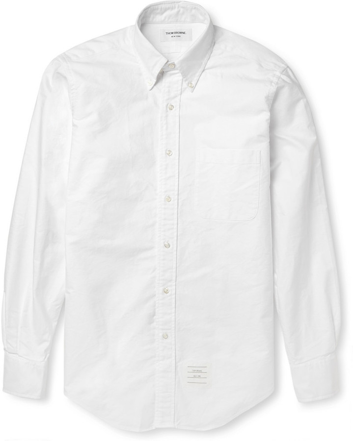 Thom Browne Button Down Collar Cotton Oxford Shirt | Where to buy ...