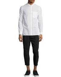 Seersucker long sleeve bomber shirt optic white medium 594522