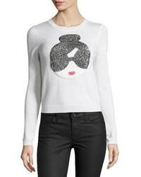 White Sequin Crew-neck Sweater