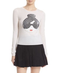Alice + Olivia Stace Face Peekaboo Two Way Sequin Applique Sweater