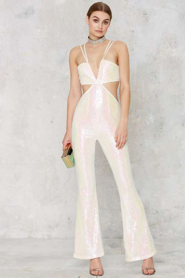 White Sequin Jumpsuit Photo Album - Reikian