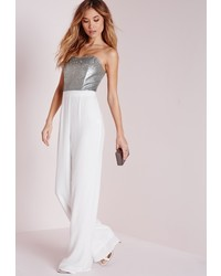 Missguided sequin embellished bandeau jumpsuit silver medium 378005