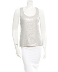White Sequin Sleeveless Top