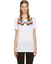 Alexander McQueen White Sequinned Butterfly T Shirt