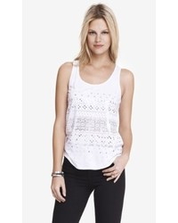 Express White Sequin Shirttail Tank