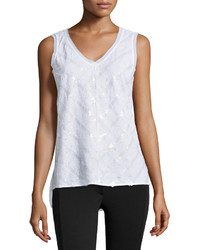 Sequined eyelet woven tank white medium 328243