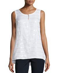 Paperwhite Sleeveless Sequined Stripe Knit Tank White