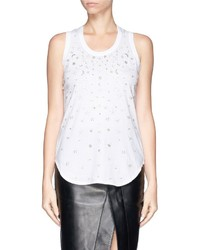 Nobrand Star Moon Sequin Bead Embroidery Tank Top