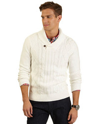 White Shawl-Neck Sweater