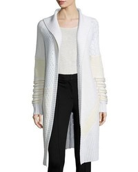 Prabal Gurung Shawl Collar Mixed Knit Long Sweater Ivorywhite
