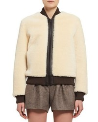 Chloé Chloe Teddy Bear Shearling Bomber Jacket White