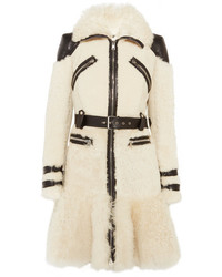 Alexander McQueen Leather Trimmed Shearling Jacket Ivory