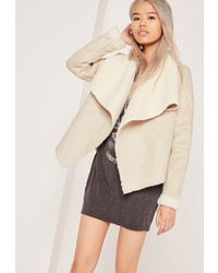 Missguided Faux Shearling Waterfall Jacket Nude