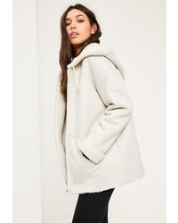 White zip through faux shearling jacket medium 3728856