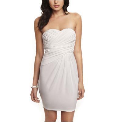 Express Ruched Knit Strapless Dress White 0  Where to buy &amp how ...