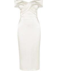 Halfpenny London Kelly Off The Shoulder Satin Midi Dress