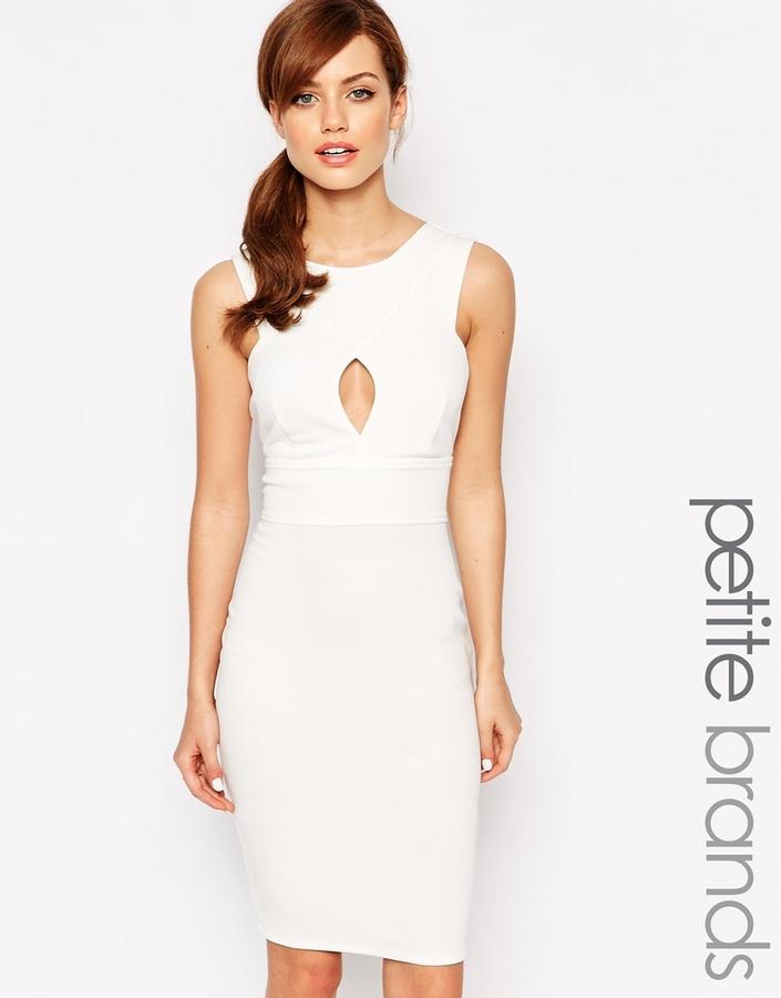 8cf70df395c ... Lipstick Boutique Petite Wrap Neck Pencil Dress With Cut Out Detail ...