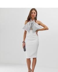 ASOS DESIGN Premium Halter Bow Midi Pencil Dress