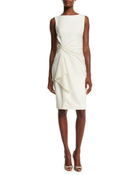 Carolina Herrera Sleeveless Ruffle Front Sheath Dress