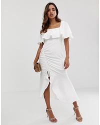 ASOS DESIGN Square Neck Midi Dress With Ruched Pep Hem