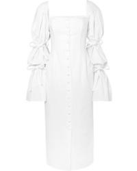 Sara Battaglia Tie Detailed Poplin Midi Dress