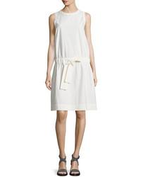 Brunello Cucinelli Sleeveless Monili Trim Shift Dress White