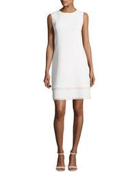 Oscar de la Renta Sleeveless Shift Dress With Scalloped Leather Trim White
