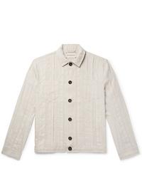 Oliver Spencer Beckford Striped Linen And Cotton Blend Jacquard Jacket