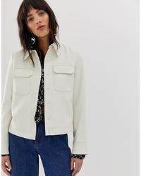 Mango Pocket Detail Popper Fasten Jacket In Off White