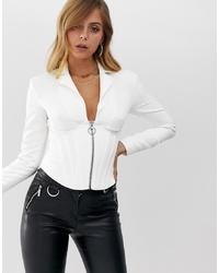 ASOS DESIGN Zip Front Corset Blazer In Ivory