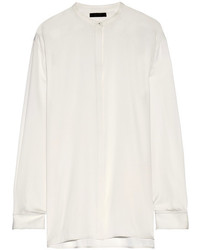 The Row Cola Stretch Silk Crepe Shirt Ivory
