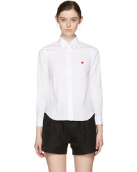 Comme des Garcons Comme Des Garons Play White Small Heart Shirt