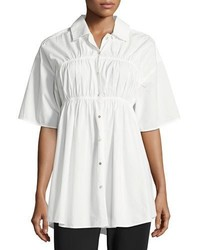 Opening Ceremony Convertible Poplin Gathered Button Front Shirt