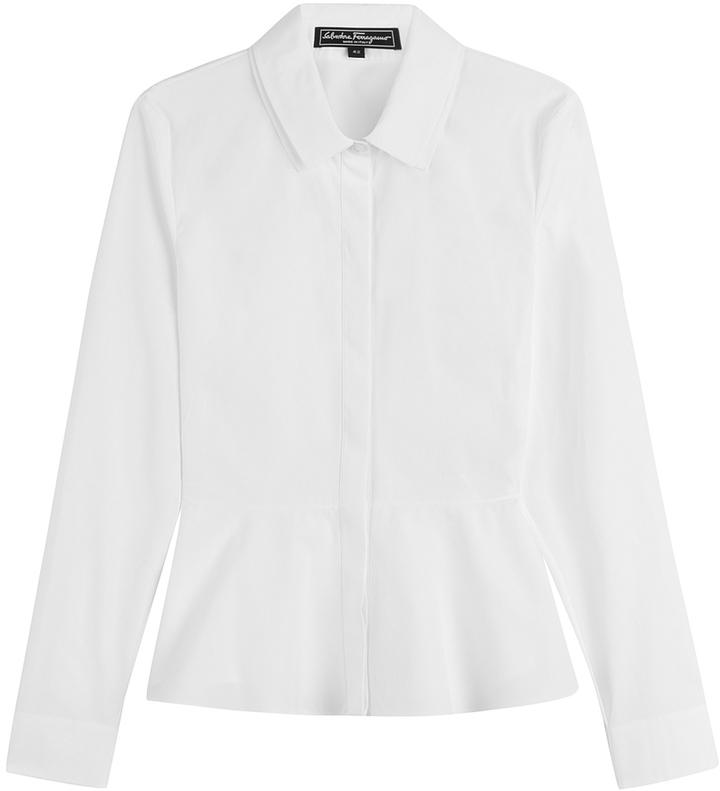 Salvatore Ferragamo Cotton Shirt With Peplum
