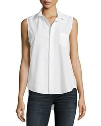 Frank And Eileen Frank Eileen Fiona Sleeveless Italian Twill Shirt White