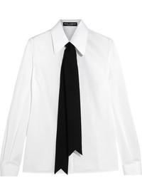 Dolce & Gabbana Grosgrain Trimmed Cotton Blend Poplin Shirt White