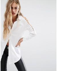 Noisy May Lattice Cold Shoulder Shirt