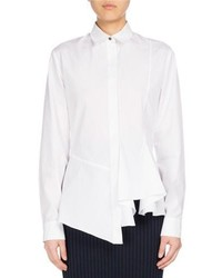 Kenzo Long Sleeve Collared Peplum Shirt White