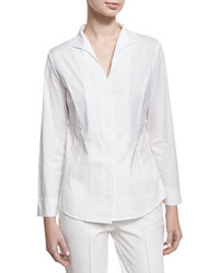 Misook Long Sleeve Stretch Cotton Shirt