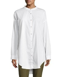 Eileen Fisher Mandarin Collar Stretch Lawn Button Front Shirt