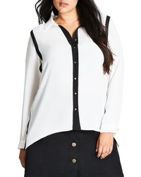 City Chic Plus Size Miss Mod Highlow Shirt