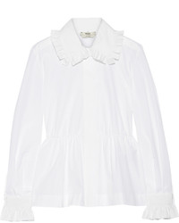 Fendi Ruffled Cotton Poplin Peplum Shirt White