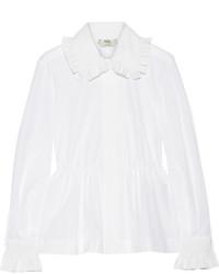 Fendi Ruffled Cotton Poplin Peplum Shirt White