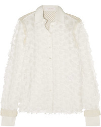 See by Chloe See By Chlo Crochet Paneled Fil Coup Cotton Shirt White