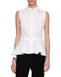 Alexander McQueen Sleeveless Waterfall Peplum Shirt White