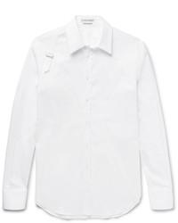 Alexander McQueen Slim Fit Harness Detailed Piqu Panelled Stretch Cotton Blend Shirt