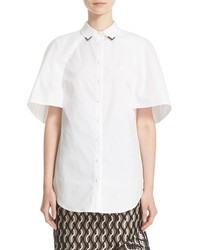 Lela Rose Stretch Cotton Capelet Shirt