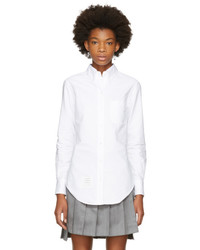 Thom Browne White Classic Button Down Point Collar Shirt