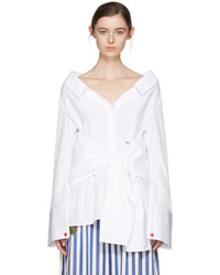 Off-White White Long Sleeve Off The Shoulder Shirt